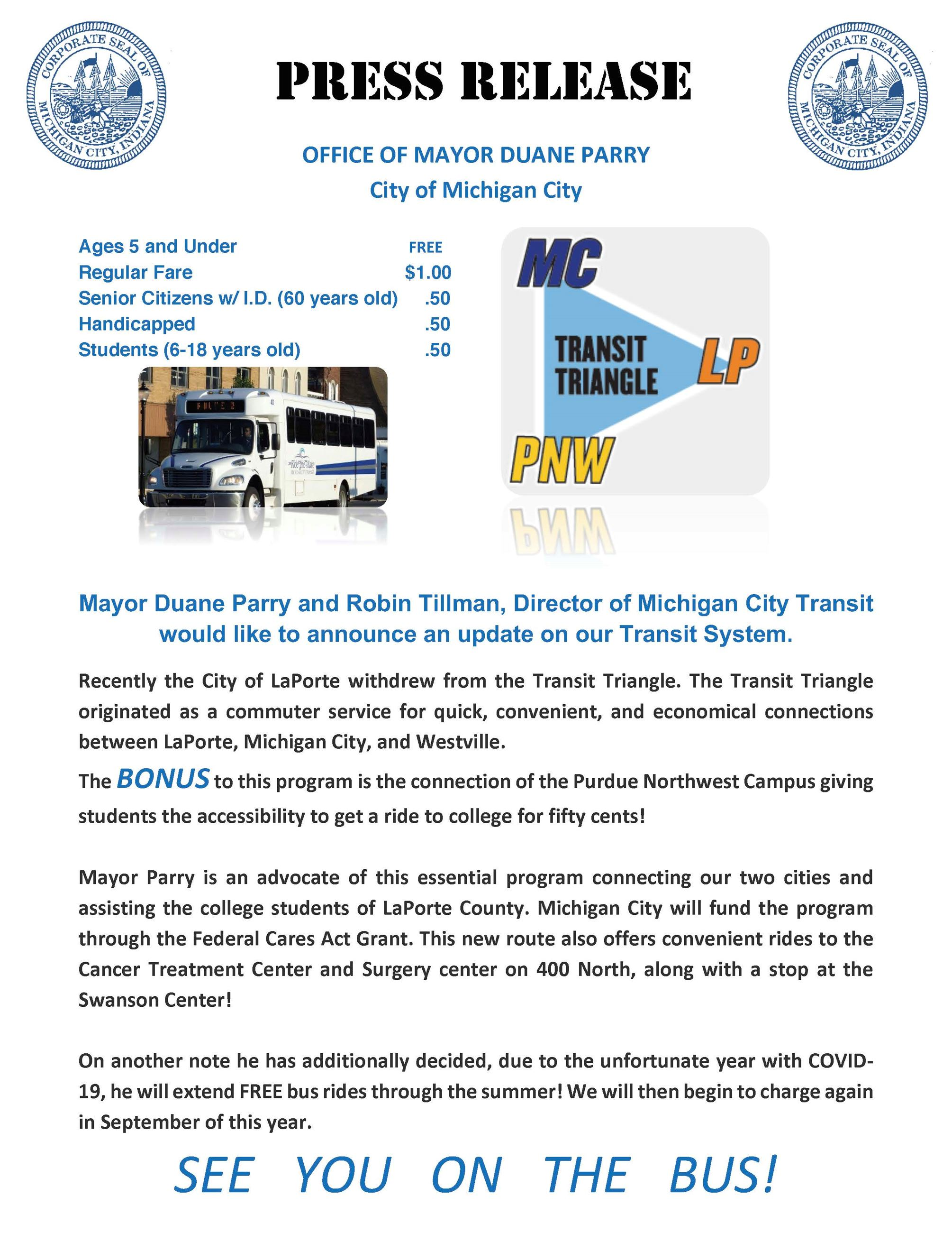 PRESS RELEASE FOR TRANSIT