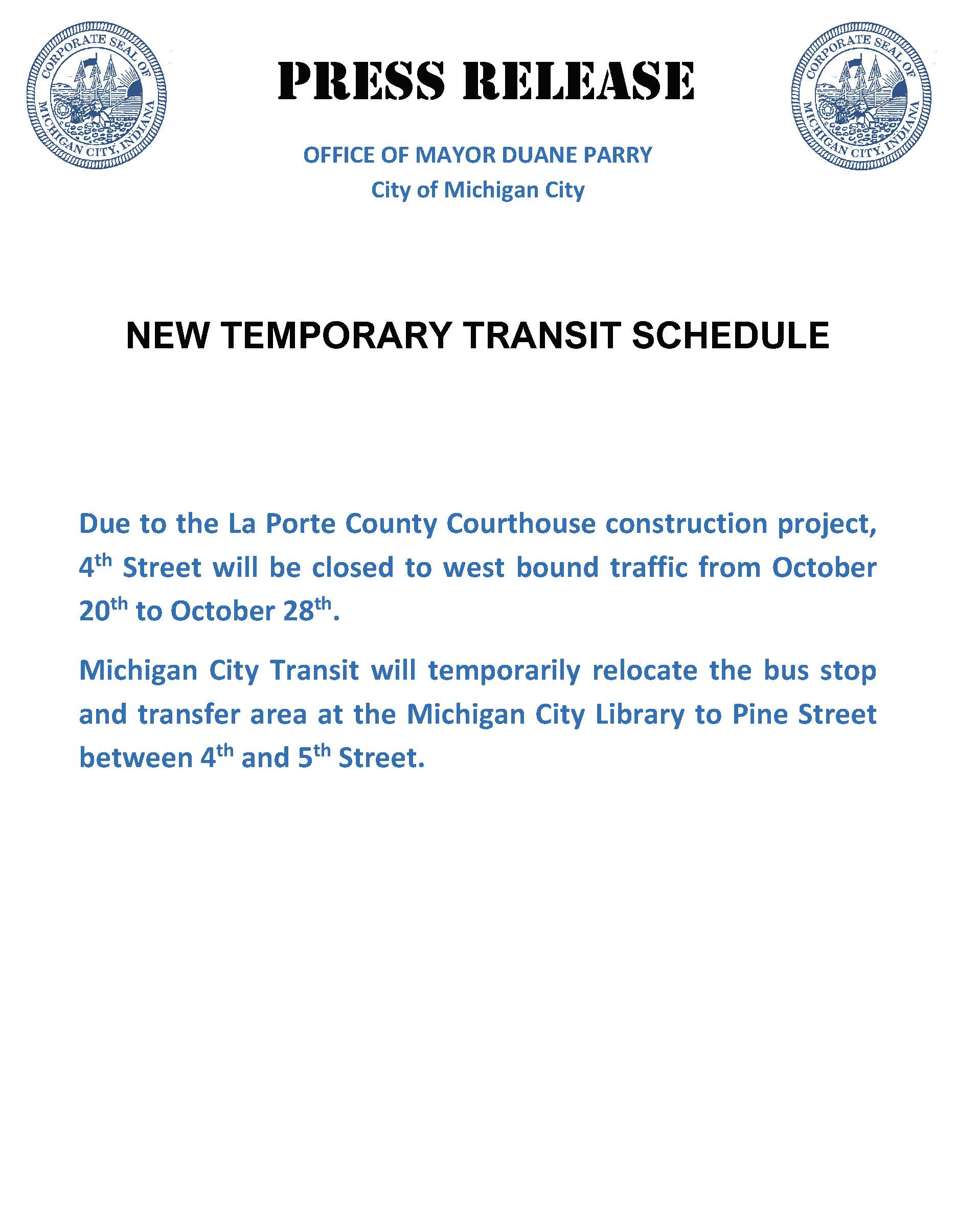 PRESS RELEASE FOR TRANSIT CHANGE