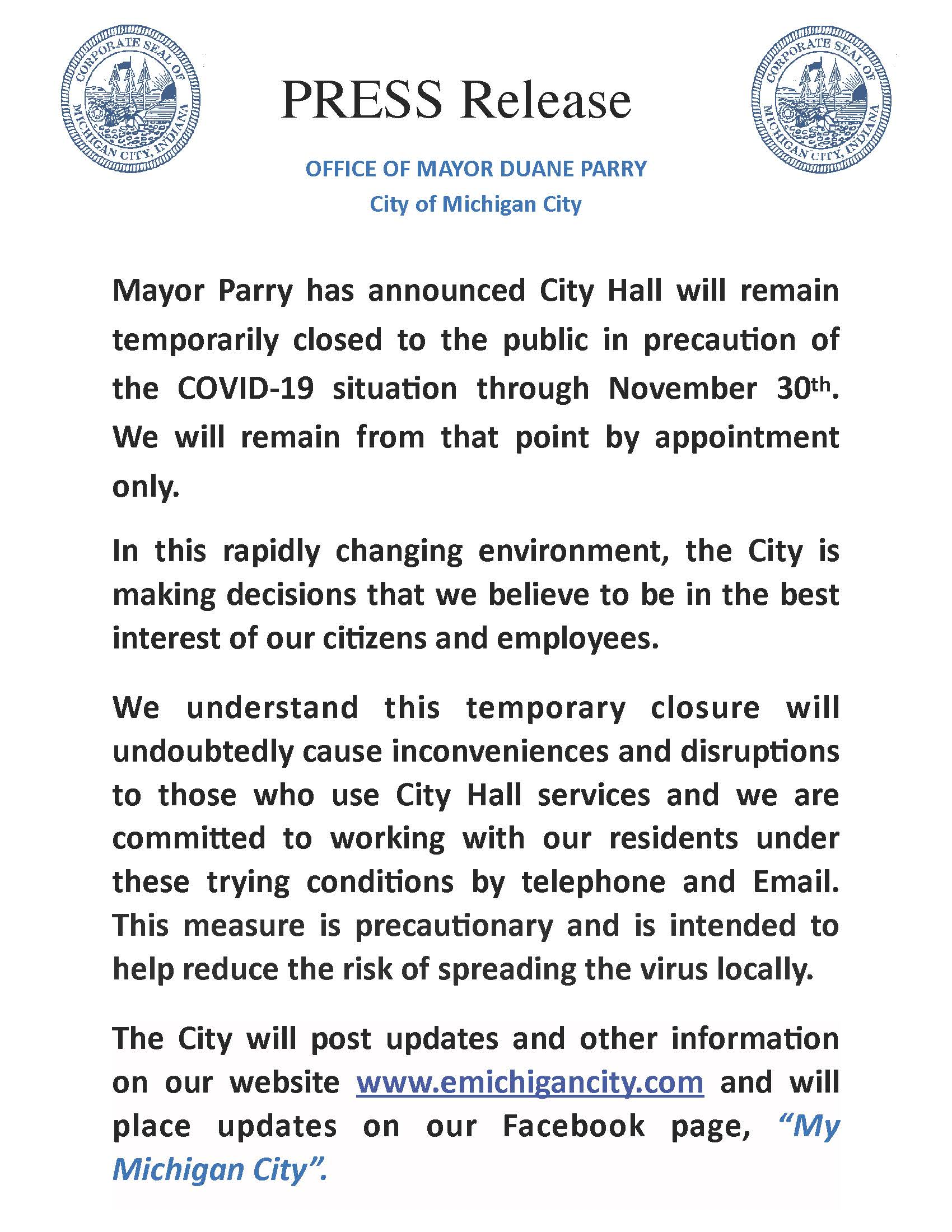 PRESS RELEASE FOR City Hall