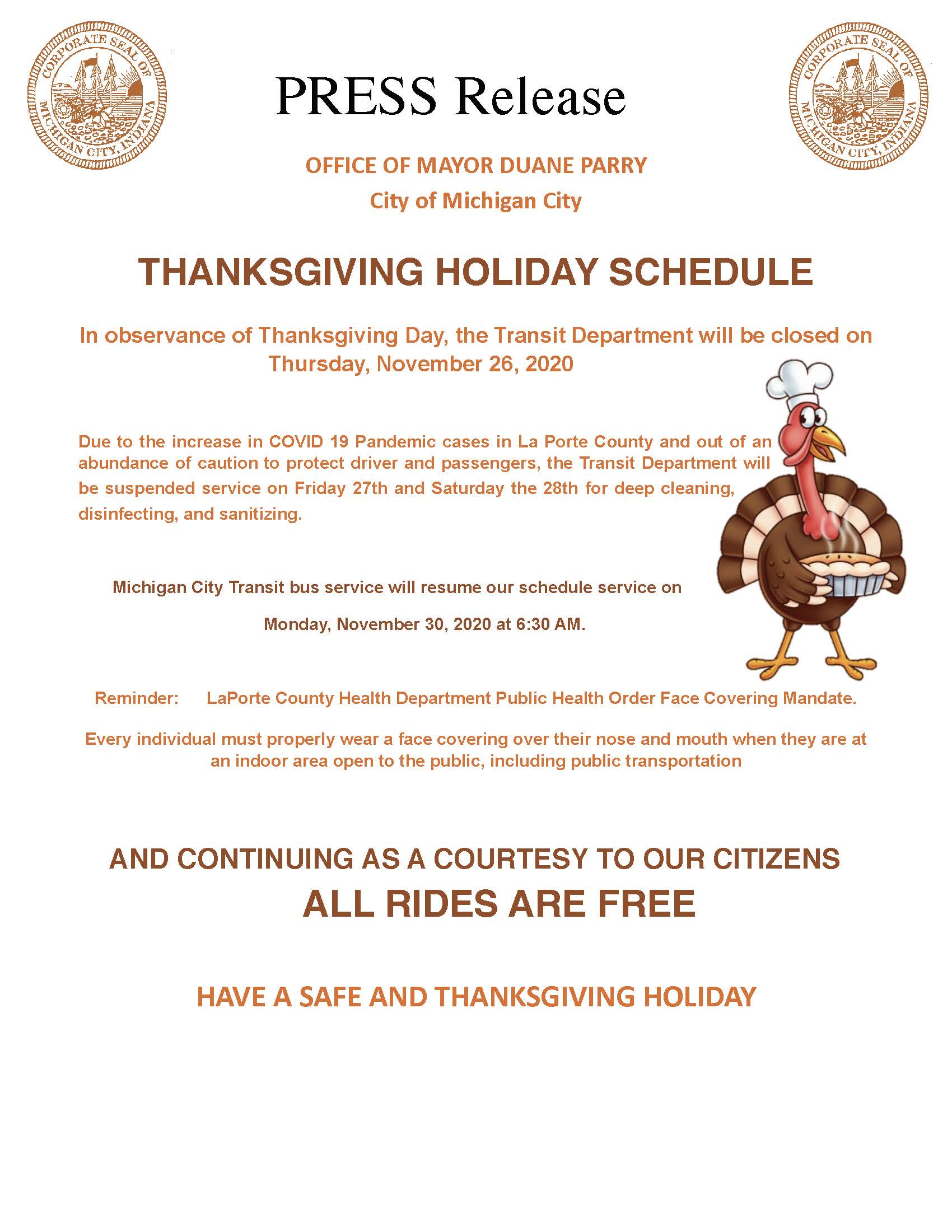 PRESS RELEASE FOR TRANSIT THANKSGIVING